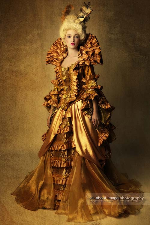 Stunning period gold Masquerade dress for Phantom of the opera