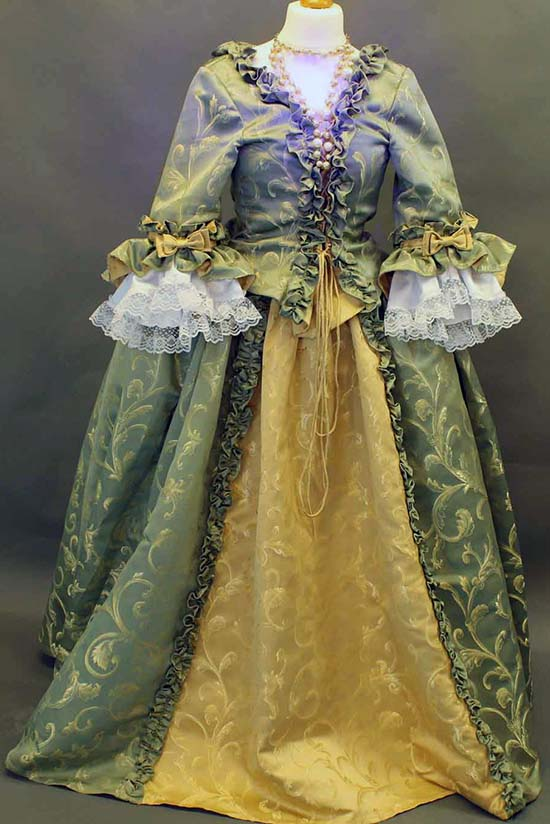 Green and Gold flowing period Restoration  dress