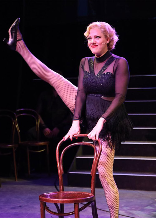 Roxie Hart in a sparkling 1920s show girl style dance costume. NOS Newcastle Operatic