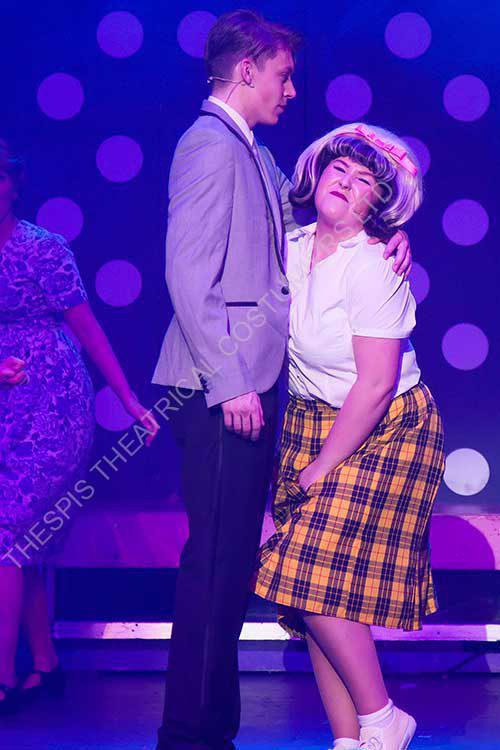 Tracey In Yellow Checkered Skirt and Link Dancing . Scene from Hairspray the Musical.